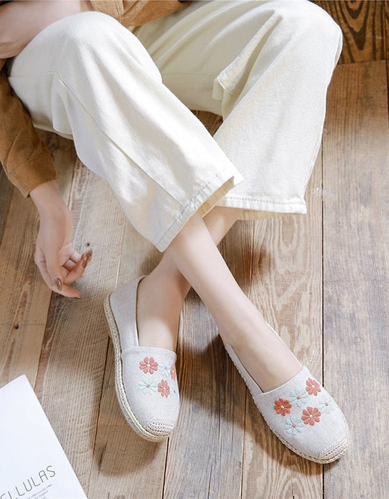 Handmade Linen-Embroidered Simple Flat Shoes