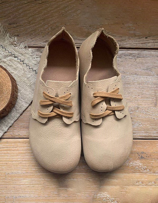 Handmade Soft Leather Retro Flat Shoes