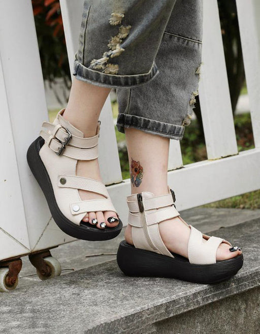 summer beige sandals, Handmade Women Retro Ankle Strap Sandals