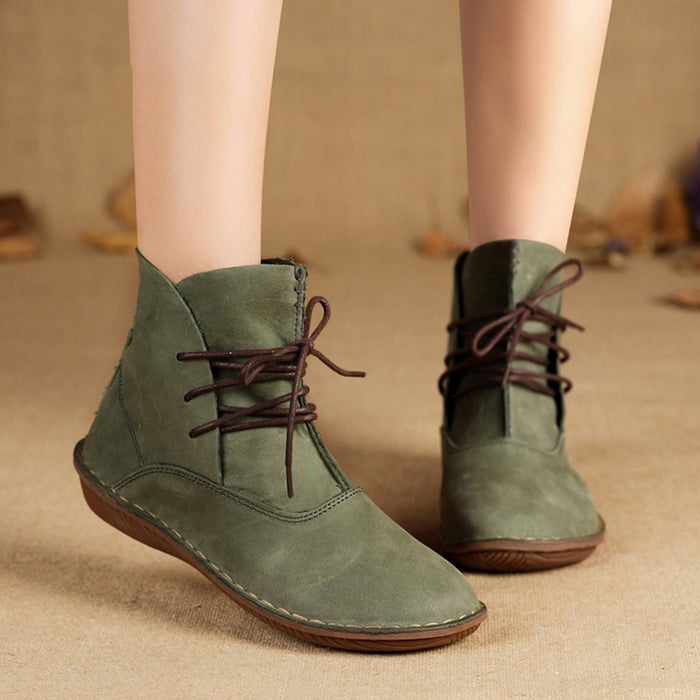 Handmade Retro Flat Short Boots | Gift Shoes | 35-42
