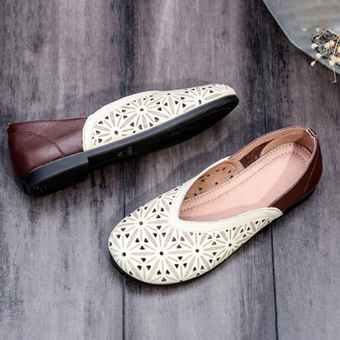 Hollow Handmade Women Retro Flat Shoes