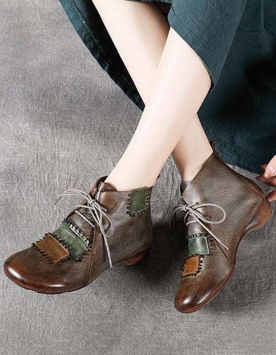 Lace-up Versatile Handmade Retro Leather Boots