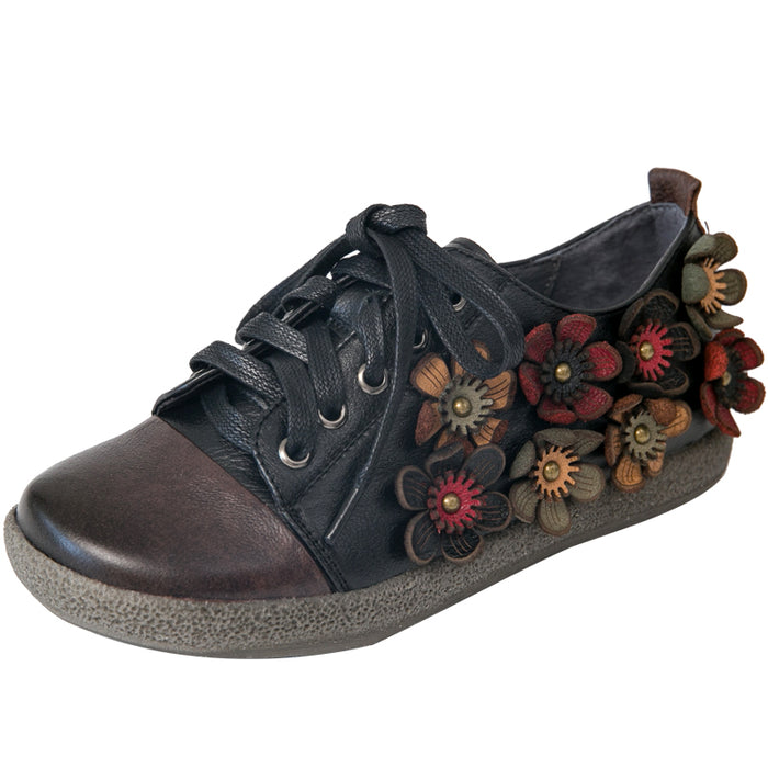Lace Up Women Retro Flower Cute Shoes
