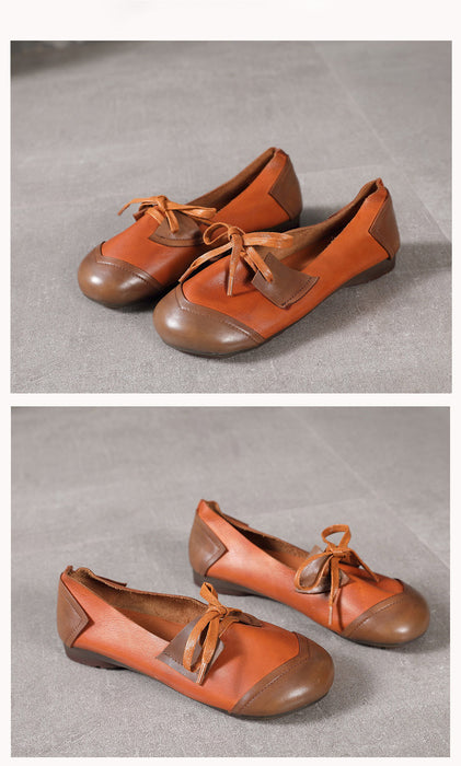 Lace up Retro Leather Women's Flats