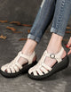 Leather Retro Roman Woven Sandals