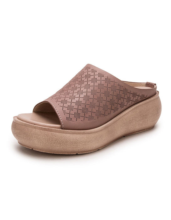 Leather Slippers Wedge Summer Fashion