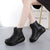 Leather Retro Thick Women's Platform Boots