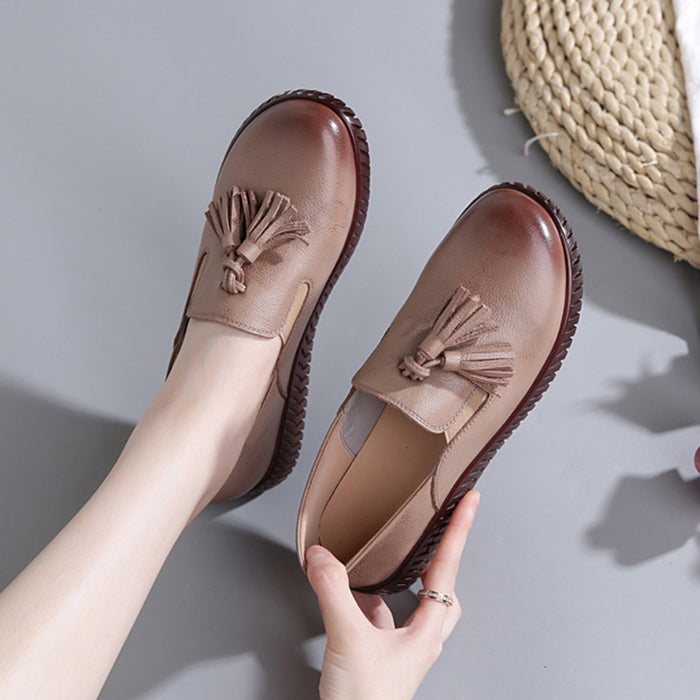 Leather Flat Casual Retro Women's Shoes | Gift Shoes