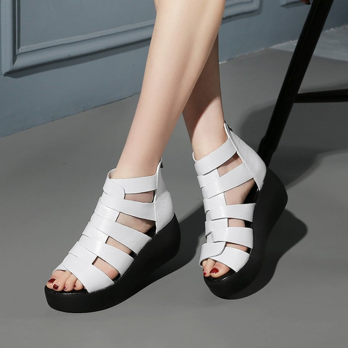 Leather Thick Bottom Women Roman Sandals