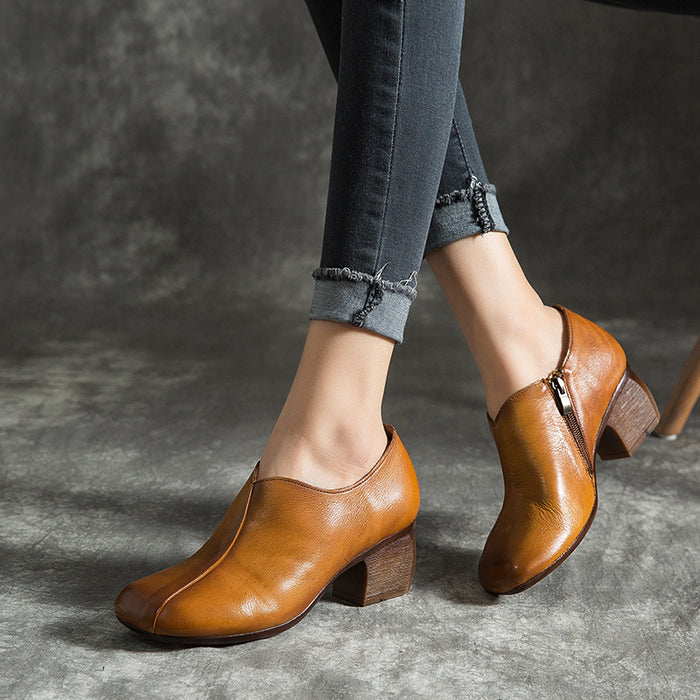 Leather Thick heel Retro Women's Shoes