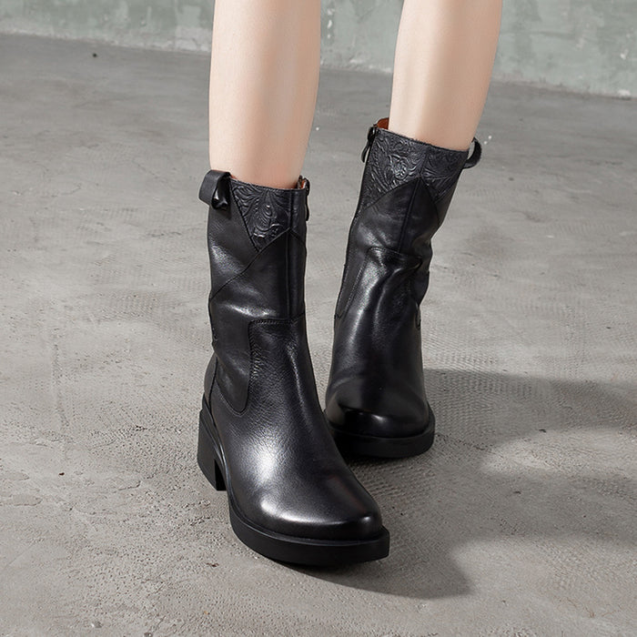 Mid-Heeled Thick Heels Casual Retro boots | Gift Shoes