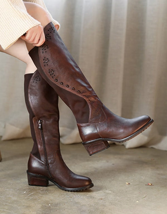 Handmade Retro Leather Women Knee High Boots