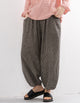 Plaid Wide-Leg Linen Cropped Pants