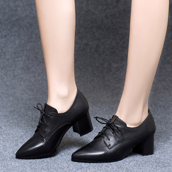 Pointed Lace Up Medium Heel Women's Work Shoes