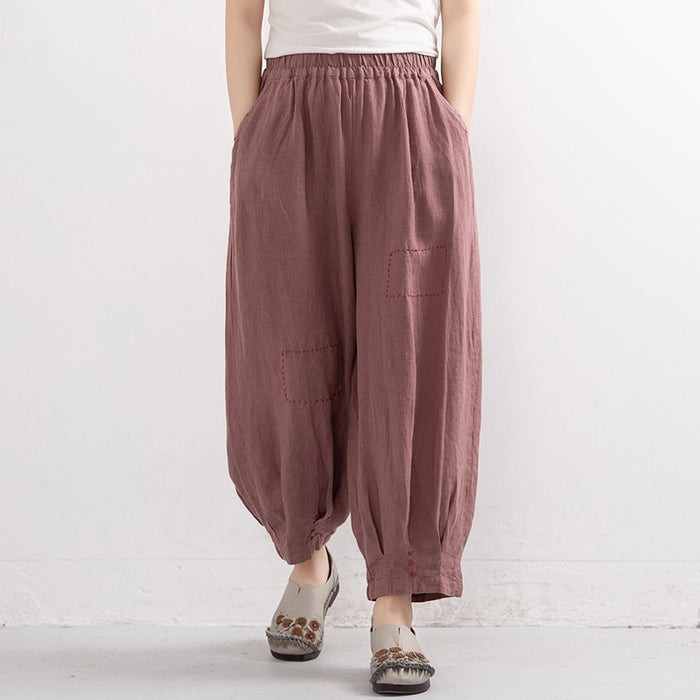 Embroidered Pure Linen Lantern Pants