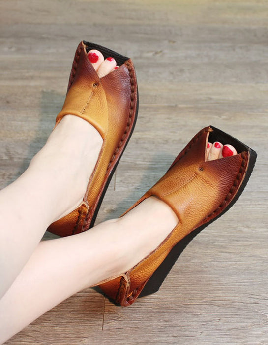 Retro Leather Fish Toe Handmade Flat Shoes