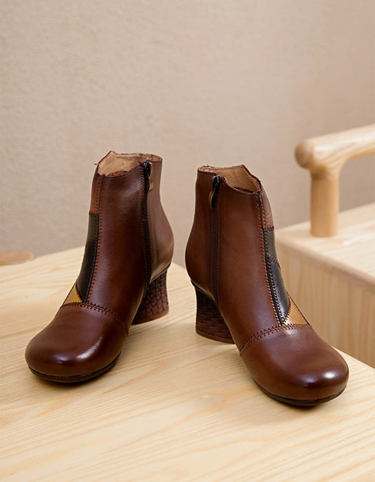 Retro Leather Handmade Chunky Women's Boots