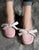 Retro Leather Pink Round Head Flats