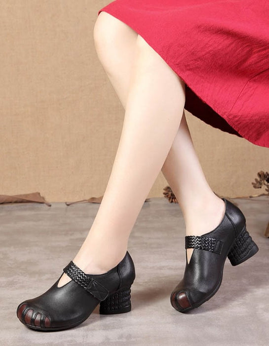Retro Leather Velcro Round-Headed Chunky Shoes