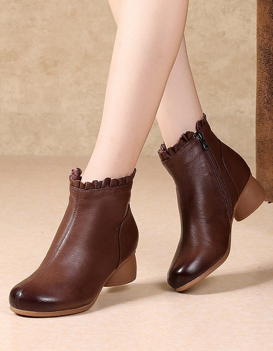 Retro Leather Women Fashion Chunky Boots