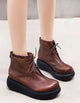 Retro Leather Women wedge Short Boots