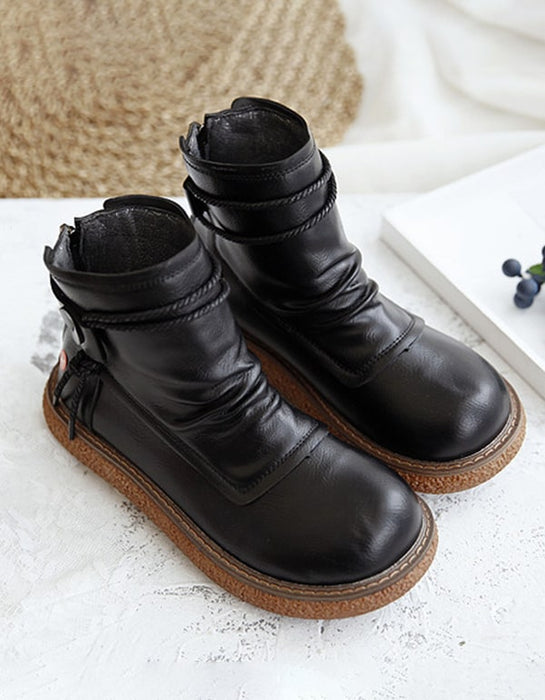 Retro Round Head Women's Platform Boots