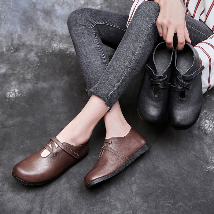 Retro Comfortable Leather Flat Shoes | Gift Shoes