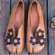 Retro Flowers Feet Split Handmade Flats