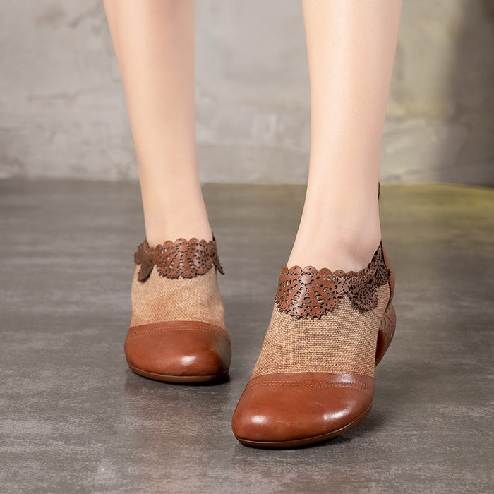 Retro Hand-Carved Stitching Pumps Women's Chunky Shoes