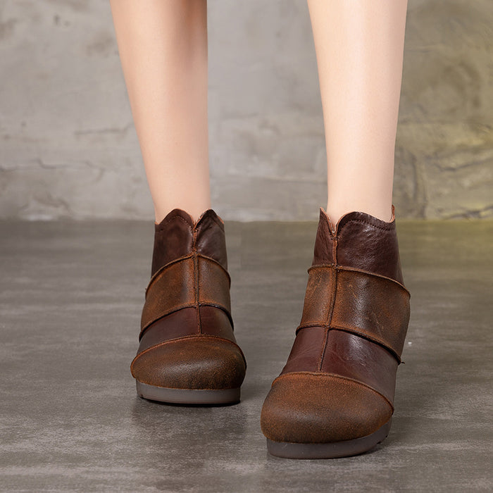 Retro Handmade Leather Stitching Women's Short Boots