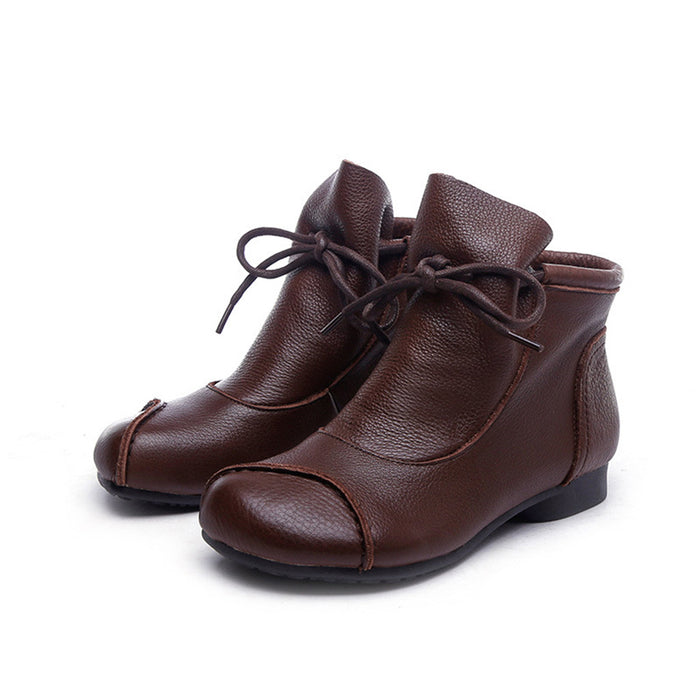 Retro Leather Handmade Short Boots | Gift Shoes