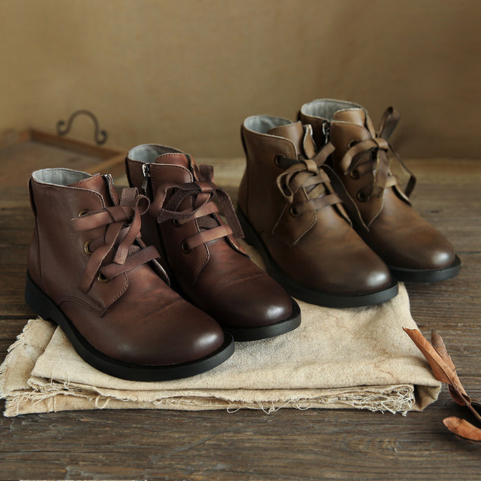 retro leather boots, women's winter boots