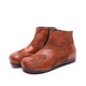Retro Stitching Leather Short Boots | Gift Shoes