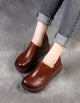 Round Head Waterproof Retro Leather Shoes