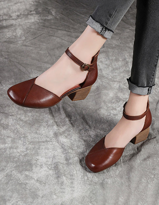 Simple Leather Buckle Middle Heel Chunky Pumps