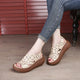 Soft Soled Hollow Fish Toe Wedge Women Sandals