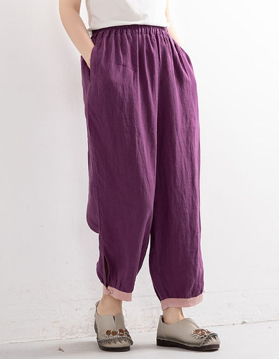 Solid Color Loose Summer Linen Pants