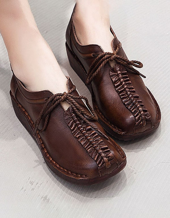 Spring Handmade Retro Leather Flat Shoes