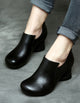 Spring Leather Chunky Heel Handmade Women's Shoes