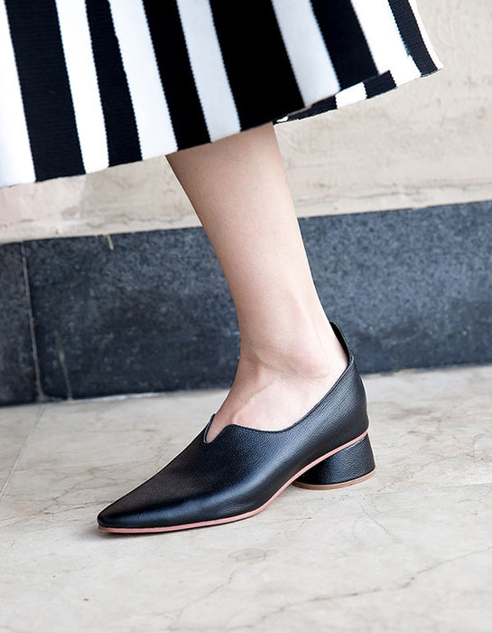 Spring Leather Pointed Thick Heel Elegant Pumps
