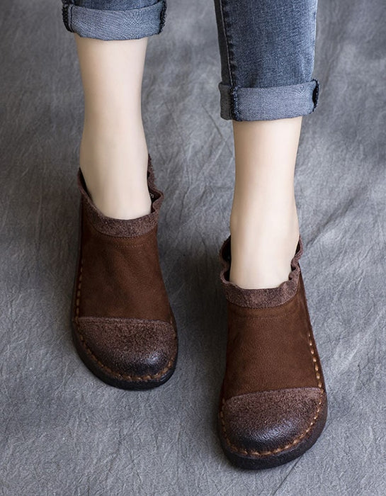 Spring Retro Leather Handmade Soft Ankle Boots 41-42