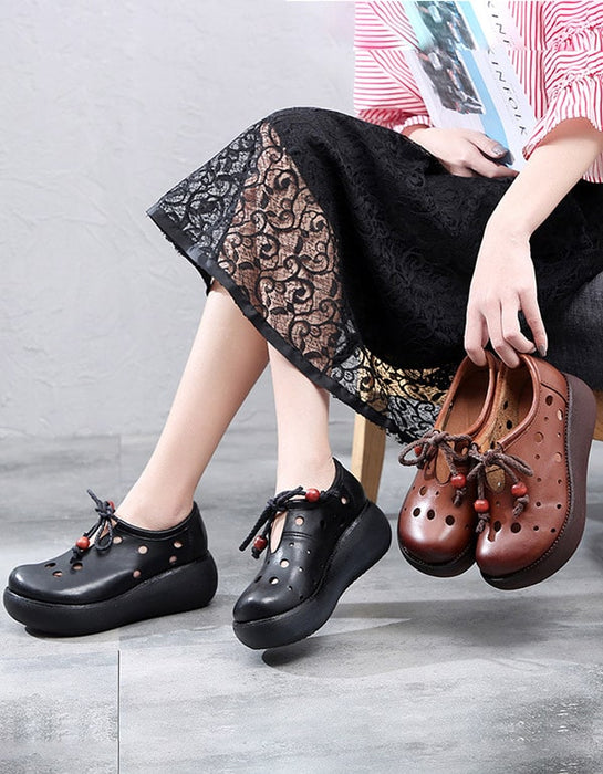 Spring Trendy Handmade Leather Hollow Wedge Shoes