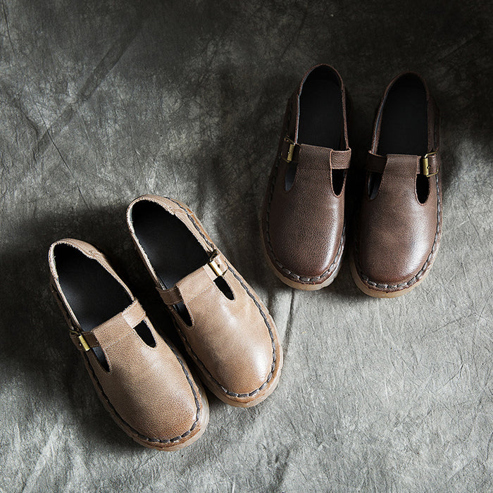 Spring Autumn Leather Comfortable Handmade Soft Flat Shoes