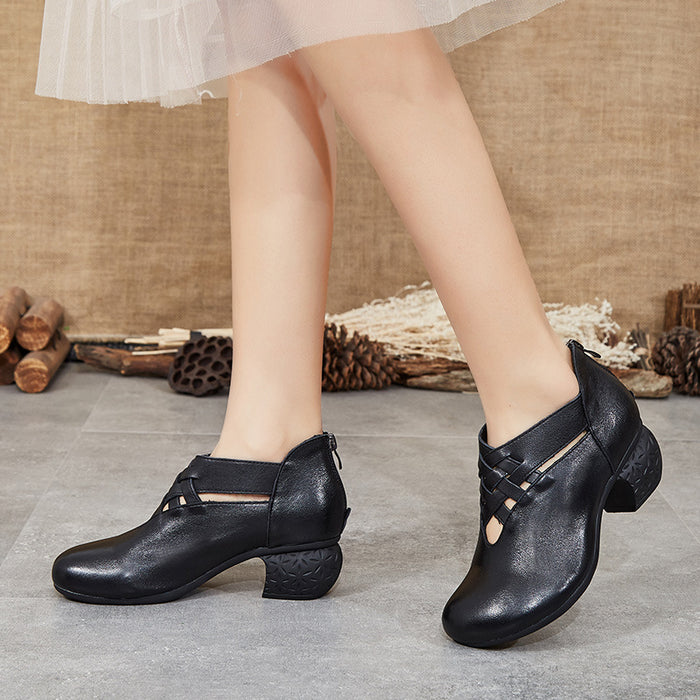 Spring Comfortable Woven Retro Chunky Shoes | Gift Shoes