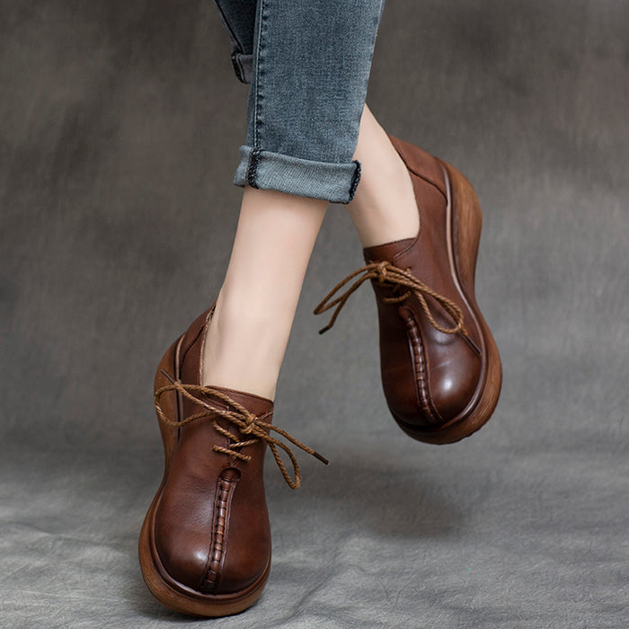 Spring Lace-Up Platform Waterproof Women's Shoes