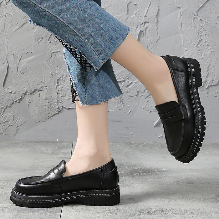 Spring Leather British Style Women's Shoes