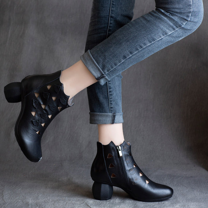 Spring Retro Leather Hollow Women Chunky Boots