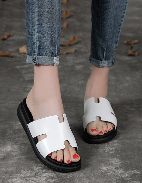 Summer Retro Leather Women's Slippers