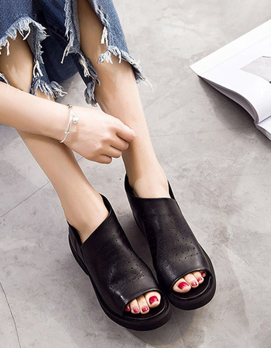 Summer Fish Toe Leather Sandals