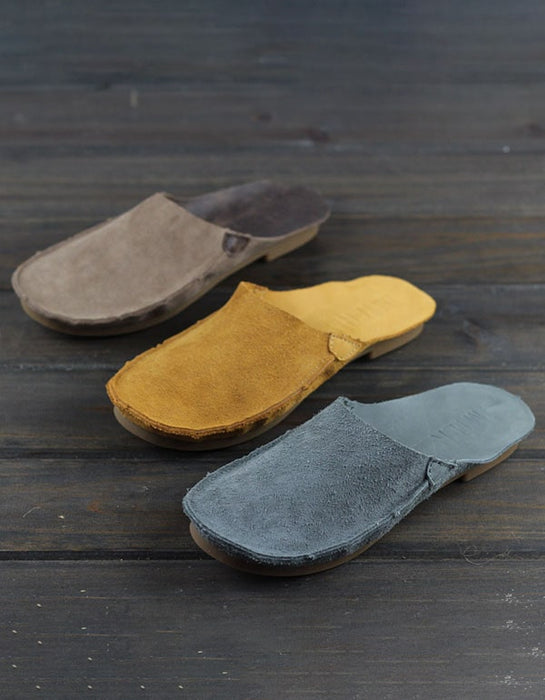 Summer Leather Close Toe Flat Slippers